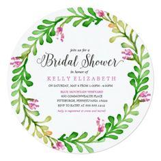 MODERN FLORAL WREATH bridal shower invitation