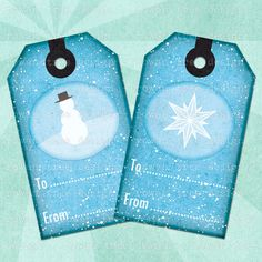 WINTER VIGNETTES Printable Tags - no. 0201, $3.99 :: Eight printable Christmas gift tags - non-denominational winter scenes in blue. From Rowan Tree Design on Etsy.