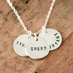 Kind Smart Important  Personalized three charm by JustJaynes, $49.00