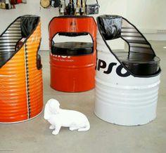 Muebles de bidones de metal reciclados
