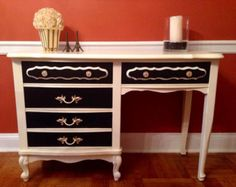 SOLD  Vintage French Provincial Vanity Or Desk Hand Painted Cream and Black