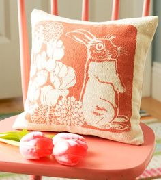 Pillow Pink Bunny Flowers Silk screened on cotton by erinflett, $30.00