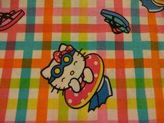"Darling ""HELLO KITTY on PLAID"" Handmade Cotton Pillowcase Standard/Queen"