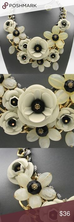 """Cream Flower Floral Necklace Earring Set Multi Cream And Black/ Metal And Lucite Flower Floral/Faceted Glass Bead Gold Tone Link/ Gold Tone Finish/ Lead Free/ Necklace With Matching Earring/17"""" Long With A 3"""" Extension. Jewelry Necklaces"""