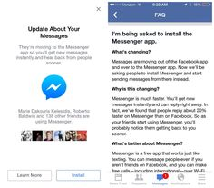 Is the #Facebook app installed on your mobile phone but not their Messenger app? You are being forced to have it now.