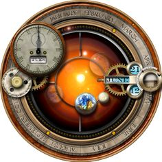 Steampunk:  Steampunk orrery note taker, just looks gorgeous on the desktop. Everything moves and spins, just as in a real orrery.