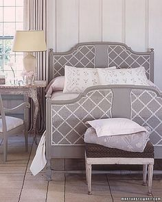 Embellish a caned piece of furniture with a painted geometric design. In one step, you have added color and depth to a room.