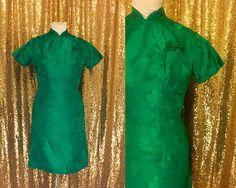 Vintage Satin Cheongsam Dress // 1960s Emerald Green Asian