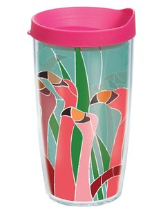 Fun Flamingo Wrap with Lid - 16oz tumbler