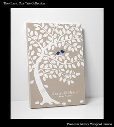 Wedding Guest Book Tree Personalized Wedding Print - Tree Guest Book -24x36- 150 Signatures Keepsake Guestbook Tree Gallery Wrapped Canvas