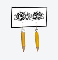 Upcycled pencil earrings. DIY Handmade Design Jewelry.