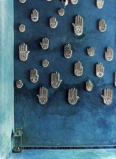 bohemianhomes: Bohemian Homes: Handira Hamsa Wall Moroccan Design, Moroccan Style, Moroccan Blue, Design Marocain, Design Hotel, House Design, Hand Der Fatima, Ethno Design, Daughter Of Smoke And Bone