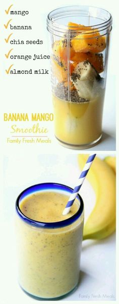 Smoothie Banana Mango Smooth is the perfect way to start your morning! The kids LOVE this smoothie recipe.Banana Mango Smooth is the perfect way to start your morning! The kids LOVE this smoothie recipe. Mango Banana Smoothie, Juice Smoothie, Smoothie Drinks, Detox Drinks, Orange Smoothie, Chia Seed Smoothie, Cherry Smoothie, Banana Milk, Smoothie Cleanse