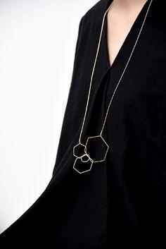 Hex long necklace by Pursuits - gold plating Gold Plating, Arrow Necklace, Rose Gold, Brass, Pendant, Jewelry, Jewlery, Bijoux, Pendants