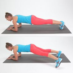 Plank With Side Step :  Start in an elbow plank.  Extend your left leg out to the side, gently tapping your toes on the ground.  Bring your foot back into a plank. Repeat the same movement with your right leg. Alternating between legs, complete 10 reps per leg.