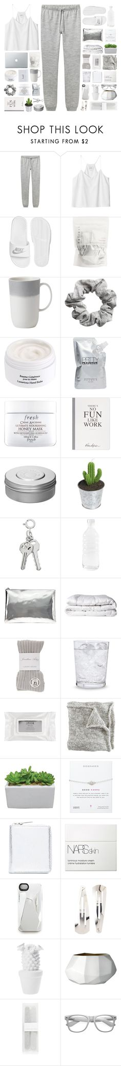 """""""Laying in bed."""" by rebelbeauty ❤ liked on Polyvore featuring A.P.C., Monki, NIKE, Vera Wang, H&M, Diptyque, Prtty Peaushun, Fresh, Selfridges and Hermès"""