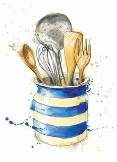 from, M & S cooking bible illustrations book by Georgina Luck- watercolor Art And Illustration, Bible Illustrations, Watercolor Illustration, Watercolor Food, Watercolor Paintings, Simple Watercolor, Watercolor Ideas, Tattoo Watercolor, Watercolor Animals