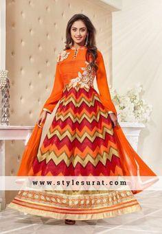 Splendid Orange Color Bhagalpuri Silk Anarkali Salwar Suit
