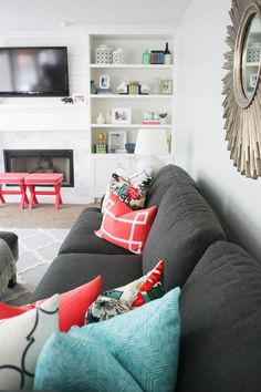DIY Family Room By Jennifer Stagg From With Heart. Gray Couch, Blue And  Coral Accents.