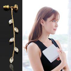 Elegante 1 par poder cristalino en forma de diseño pendientes de gota largos joyería para mujeres del Color del oro envío gratis