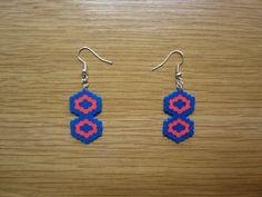 Pendientes hexagonos entrelazados hama beads by Ursula