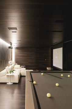 ' — Interior Design Gentleman's Essentials Modern Interior Design, Interior Architecture, Game Room Bar, House Games, Modern Pools, Cinema Room, Billiard Room, Home Cinemas, Entertainment Room