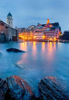 ~~Italy - Vernazza: Italian Charm ~ perhaps the most picturesque of the five towns of Cinque Terre, Italy by John  Tina Reid~~