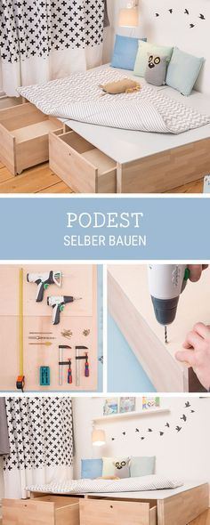 DIY für Zuhause: Podest aus Holz selbermachen / how to build a wooden platform for your home, storage idea via DaWanda.com