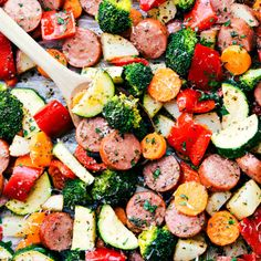Delicious Italian-seasoned veggies and sausage all made in one pan. A great and healthy meal prep idea! - One Pan Italian Sausage and Veggies