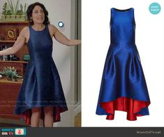 Abby's blue high low dress on Girlfriends Guide to Divorce.  Outfit Details: https://wornontv.net/56375/ #GG2D