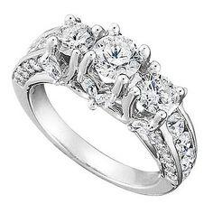 3ctw 14k White Gold 3 Stone Diamond Enagement Ring  $6,799  Stunning 14k white gold ring features 3ctw Three-Stone Diamonds