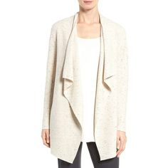 Women's Eileen Fisher Peppered Organic Cotton Blend Cardigan ($186) via Polyvore featuring tops, cardigans, ecru, petite, eileen fisher cardigan, white top, drape front top, petite white tops and white cardigan