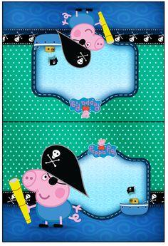 Cartão Agradecimento de Mesa George Pig Pirata: Pig Party, Pirate Party, Peppa Pig Printables, Cumple Peppa Pig, George Pig, Tent Cards, Goodie Bags, Baby Shower, 4th Birthday
