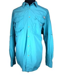 Columbia PFG Fishing Shirt Mens 2XL Vented Mesh Turquoise Blue Velcro Pockets #Columbia #ButtonFront