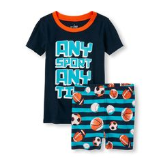 Boys Short Sleeve 'Any Sport Any Time' Graphic Top and Sports Print Shorts PJ Set