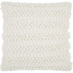 """Mina Victory Lifestyle Woven Stripes White Throw Pillow by Nourison (20 x 20-inch) (20"""" x 20"""") (Polyester, Solid Color)"""