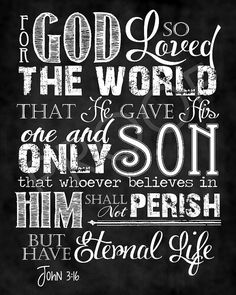 Scripture Art   John 3:16 Chalkboard Style by ToSuchAsTheseDesigns