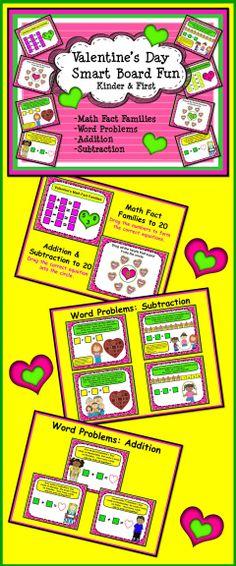Valentine's Day Smart Board Fun Math:  Kinder and First