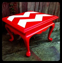Red Chevon Side Table- I like this idea but it would be cool in a shade of teal, yellow, or gray.