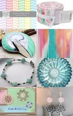 """Eclectic Spring Pastels"" Curated by Gail @  http://www.etsy.com/shop/GALsews  Featuring my Natural nautilus shell/ 925 silver focal bead (item number 8710) @  https://www.etsy.com/listing/108015059/natural-nautilus-shell-925-silver-focal?ref=tre-2724264242-3"