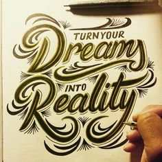 Turn Your Dreams Into Reality by @jordancuellar #type #typography #design #illustration #sketch #drawing #calligraphy #lettering #quote #inspiration #motivation #handlettering #handtype