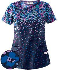 1edd92f488a UA Poppy Showers Navy Asymmetrical Print Scrub Top Dresses With Sleeves,  Short Sleeves, Short