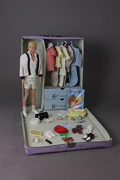 VINTAGE VINYL KEN CASE, FLOCKED HAIR KEN, AND TAGG - by Apple Tree Auction Center