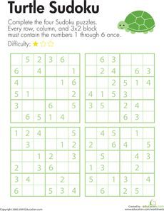 Here's a page with a set of 6x6 sudoku puzzles for challenging kids to use their logical reasoning and problem solving skills.