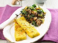 Gebratene Polentascheiben mit Pilz-Spinat