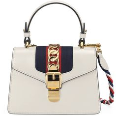 Gucci Sylvie Leather Mini Bag ($2,250) ❤ liked on Polyvore featuring bags, handbags, white, chain strap purse, mini handbags, genuine leather handbags, gucci purse and white leather handbags