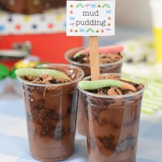 This mud looking dessert is easy to make and is perfect for a bug themed party. By Noeleen Foster Fun Party Themes, Party Ideas, Food Articles, Family Meals, Mud, How To Memorize Things, Birthday Parties, Pudding, Breakfast
