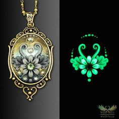 *Flowers of the Night* Handmade, Glow-in-the-Dark Polymer Clay Filigree Applique Necklace by wizArts Polymer Clay Pendant, Polymer Clay Crafts, Clay Jewelry, Jewelry Art, Polymer Clay Embroidery, Shape And Form, Embroidery Techniques, Brass Chain, Wearable Art