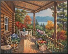 Sung Kim-Log Cabin Covered Porch ~ wood mount 22x28 $106.99