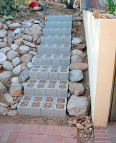 garden stairs steps Fill cinder blocks with a creeping ground cover like thyme which smells so good when walked on. Lawn And Garden, Garden Paths, Garden Landscaping, Home And Garden, Herb Garden, Landscaping Ideas, Landscaping Retaining Walls, Inexpensive Landscaping, Succulent Landscaping